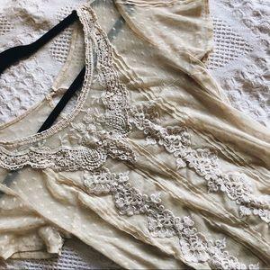 Embroidered Cream Transparent Top